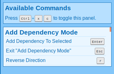 Commands for Add Dependency Mode