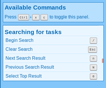 Screenshot of commands for navigating search results