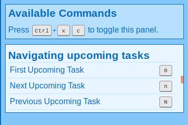 Screenshot of commands for navigating upcoming tasks.