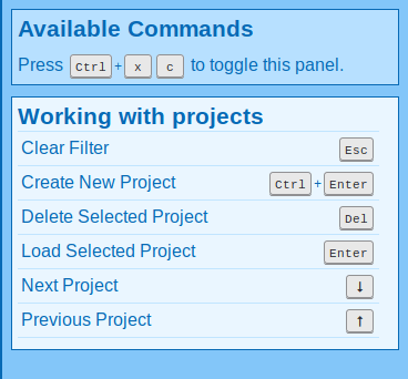 Project panel keyboard commands