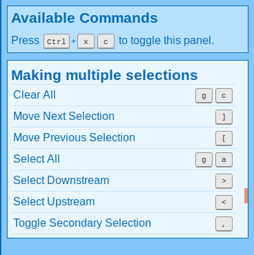 Screenshot of commands for manipulating the secondary selection