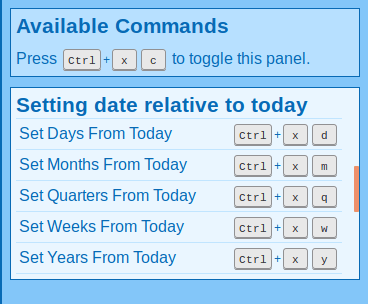 Commands for setting the target date relative to today's date